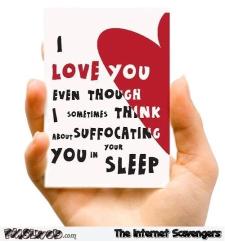 Sarcastic I love you Valentine's day card @PMSLweb.com