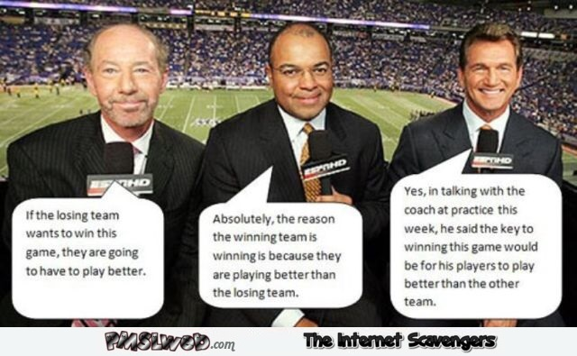 Sports commentators humor @PMSLweb.com