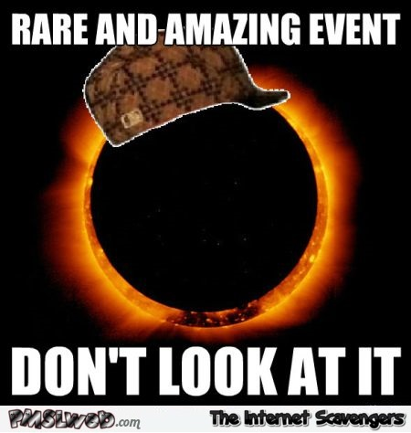 Solar eclipse don't look at it meme @PMSLweb.com
