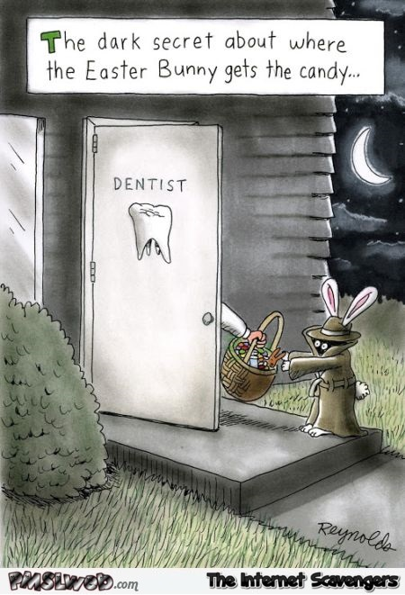 Easter bunny dark secret funny cartoon @PMSLweb.com