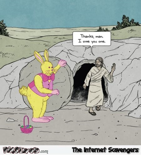 Easter bunny saves Jesus funny cartoon @PMSLweb.com
