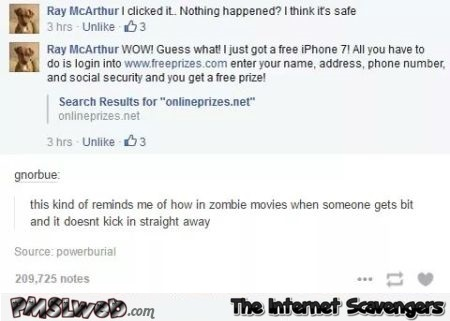 Funny Facebook zombie movie comment – Hump day guffaws @PMSLweb.com