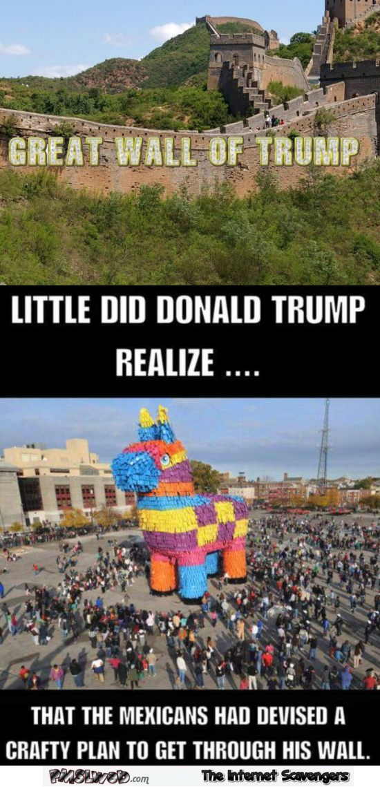 Funny great wall of Trump and the Mexican solution joke @PMSLweb.com