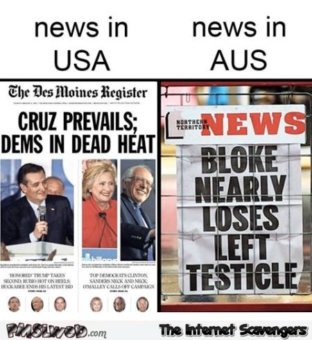 News in USA versus news in AUS humor @PMSLweb.com