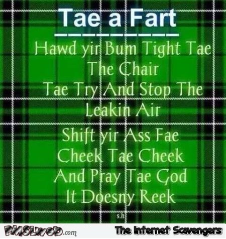 Tae for fart Irish humor @PMSLweb.com