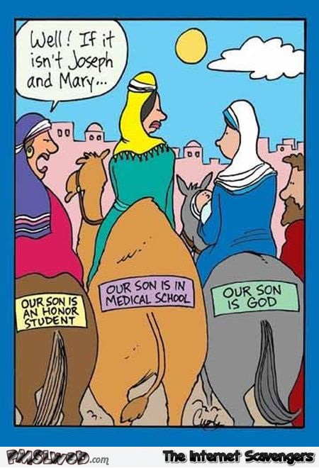Funny Joseph and Mary bumper sticker cartoon @PMSLweb.com