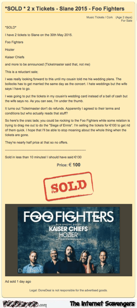 Funny foo fighters ticket sale – Monday funnies @PMSLweb.com