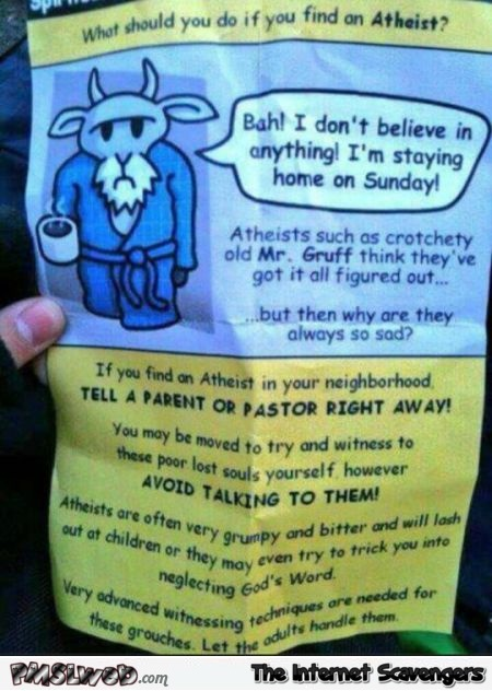 Funny atheist pamphlet @PMSLweb.com