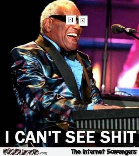 I can't see shit Ray Charles humor @PMSLweb.com
