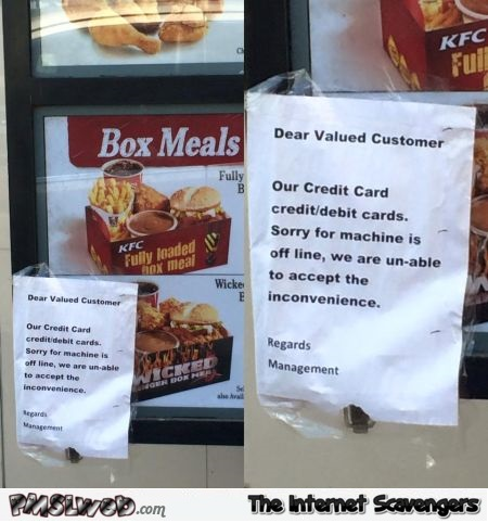 KFC payment is offline funny fail – Funny Monday images PMSLweb.com