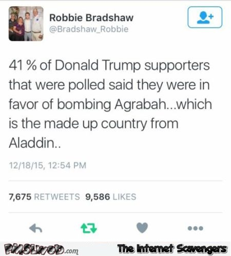 Trump supporters and bombing of Agrabah funny fail – Funny images @PMSLweb.com