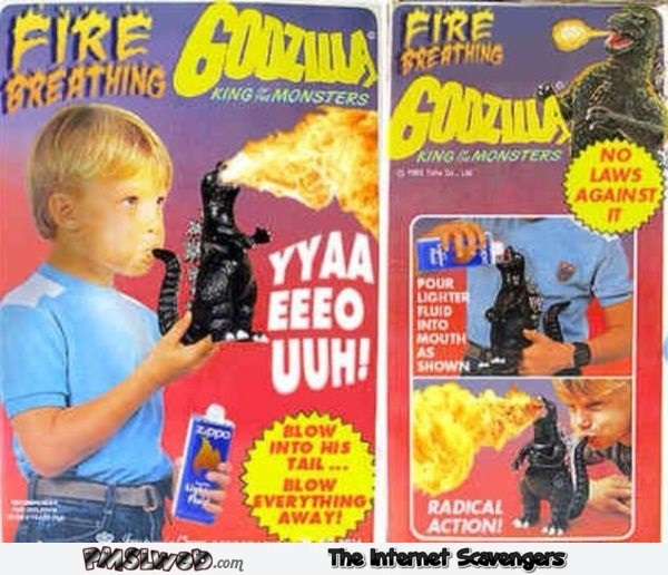 Funny fire breathing Godzilla toy