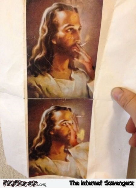 Funny Jesus blowing smoke circles @PMSLweb.com