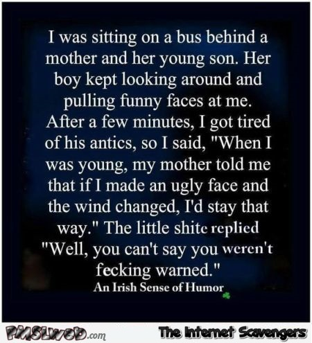 Funny on the bus Irish joke @PMSLweb.com