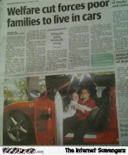 Funny welfare cut forces families to live in car fail @PMSLweb.com