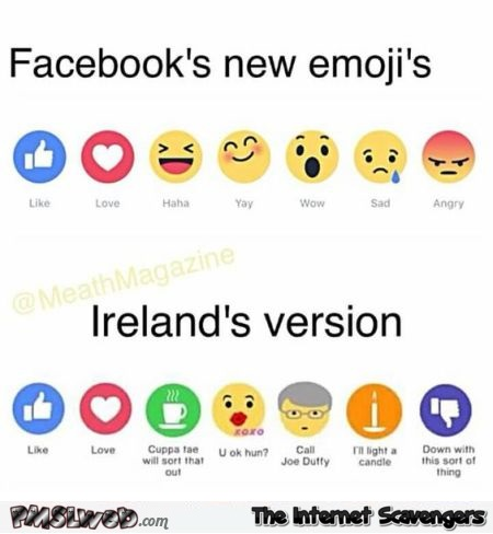 Irish Facebook emojis – Irish humor @PMSLweb.com