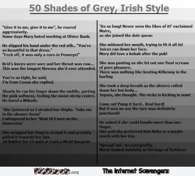 Funny 50 shades of grey Irish style @PMSLweb.com