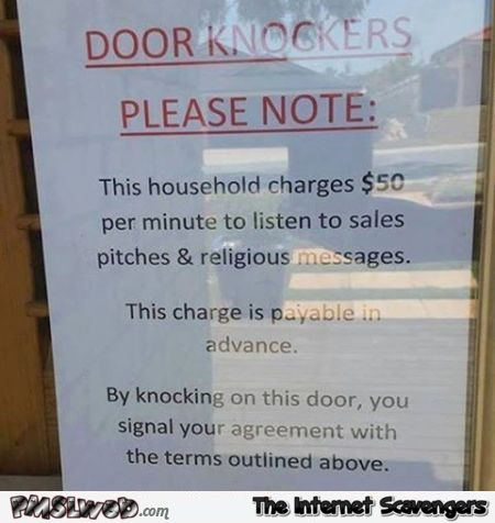 Funny door knockers note