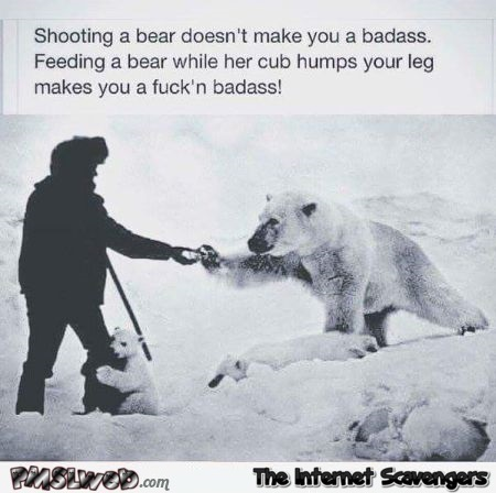 Shooting a bear doesn't make you badass humor – Hump day craze @PMSLweb.com