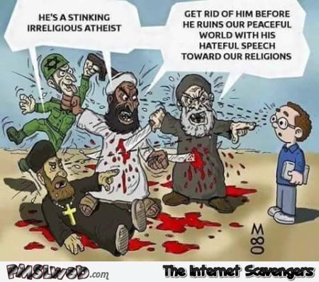 Atheists are dangerous funny cartoon @PMSLweb.com