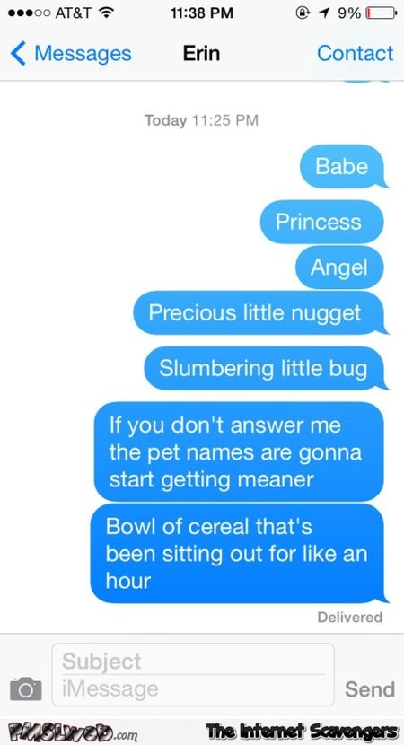 Pet names will get meaner funny text message @PMSLweb.com