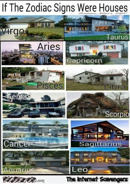 Funny if Zodiac signs were houses @PMSLweb.com