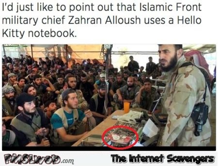 Isis military chief uses a hello kitty notebook humor @PMSLweb.com