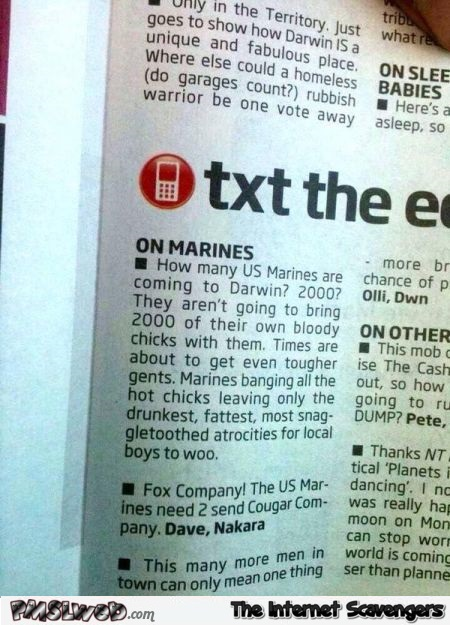 Marines are coming to Darwin funny message @PMSLweb.com