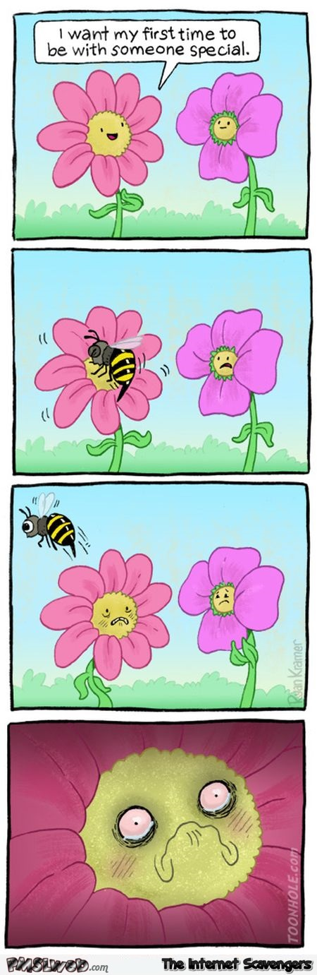 Flower wants its first time to be special funny cartoon @PMSLweb.com