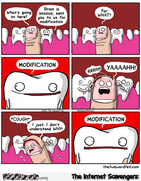 Awkward Yeti nail biter cartoon @PMSLweb.com