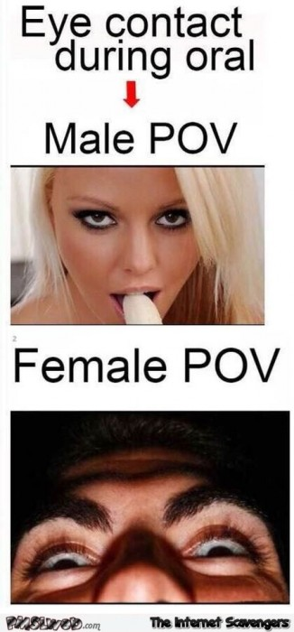 Funny eye contact during oral