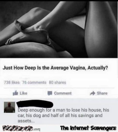 How deep is the average vagina humor @PMSLweb.com