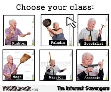 Choose your class grandmother video game humor @PMSLweb.com