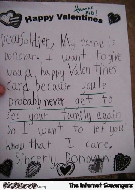 Funny Valentine 's Day letter to soldier @PMSLweb.com