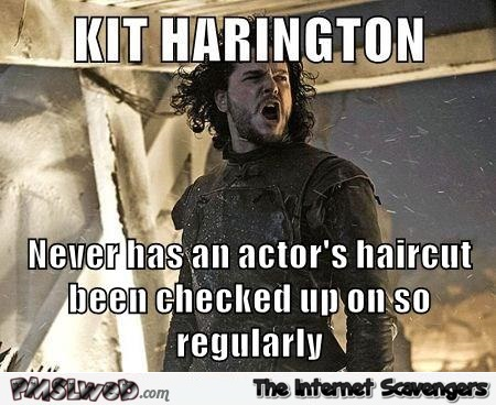 Funny Kit Harington haircut meme @PMSLweb.com