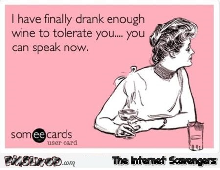 I have finally drank enough wine to tolerate you sarcastic ecard @PMSLweb.com
