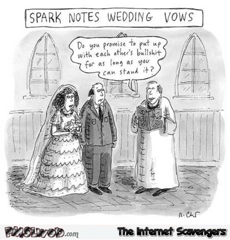 Funny realistic wedding vows cartoon @PMSLweb.com