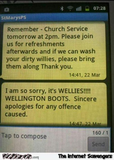 Funny Church text message fail @PMSLweb.com