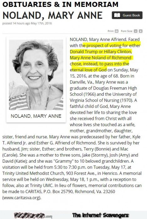 Funny obituary before elections