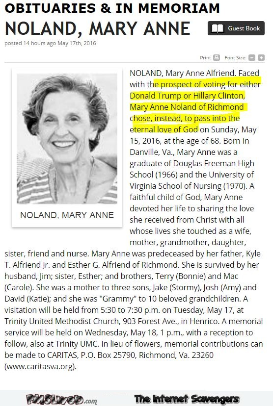 Funny obituary before elections @PMSLweb.com