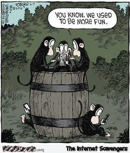 Barrel of Monkeys nowadays funny cartoon @PMSLweb.com