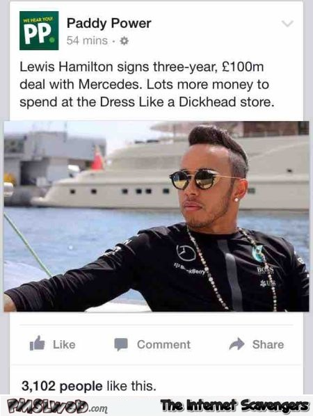Funny lewis Hamilton facebook post – Hilarious Wednesday picture collection @PMSLweb.com