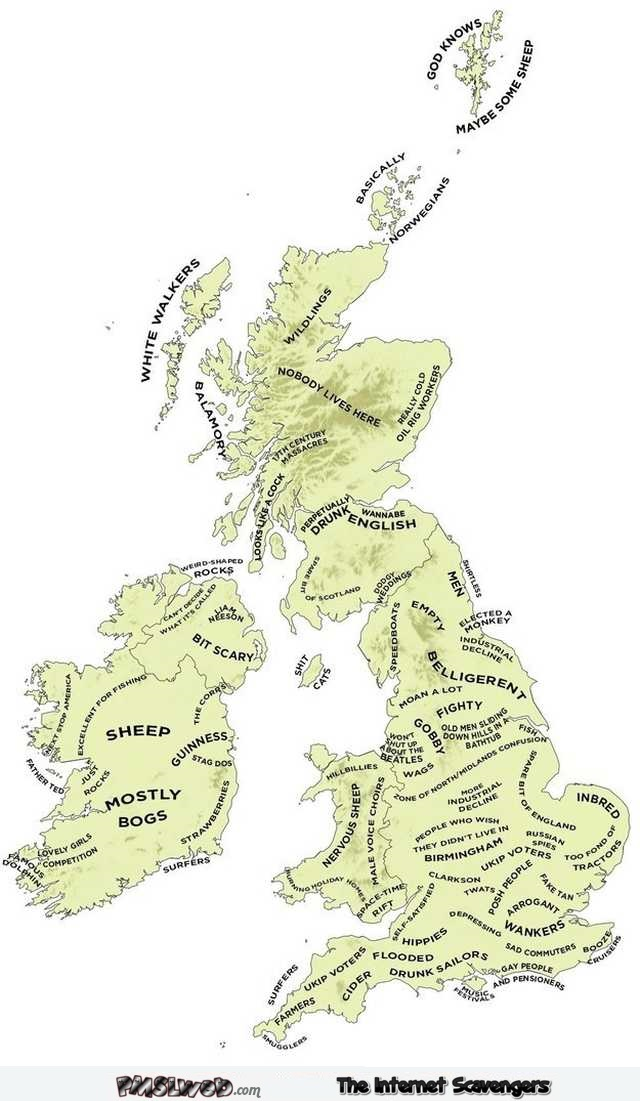 Funny UK map as seen by the British @PMSLweb.com