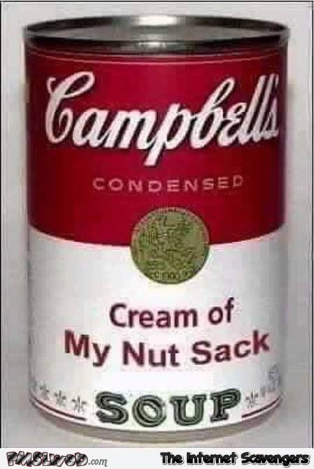 Funny cream of my nut sack soup