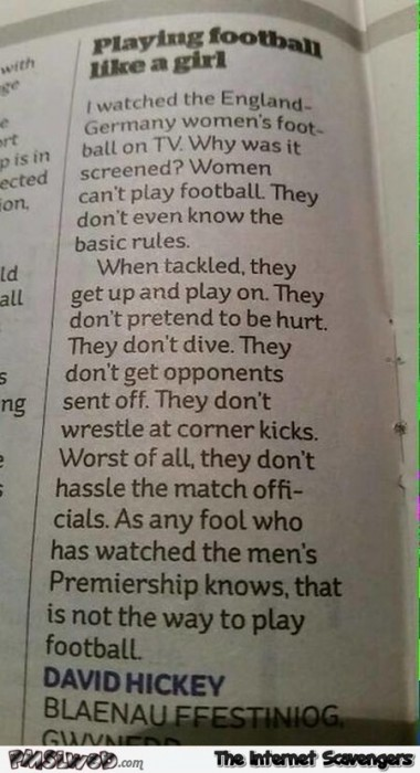 Playing football like a girl funny article