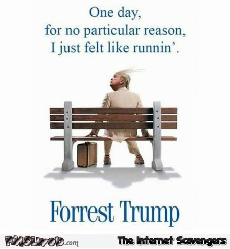 Donald Trump is Forest Gump humor @PMSLweb.com