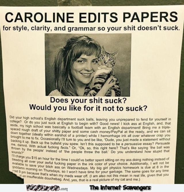 Caroline can edit your papers humor
