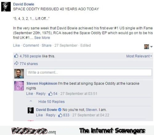 When Bowie owned on facebook humor @PMSLweb.com