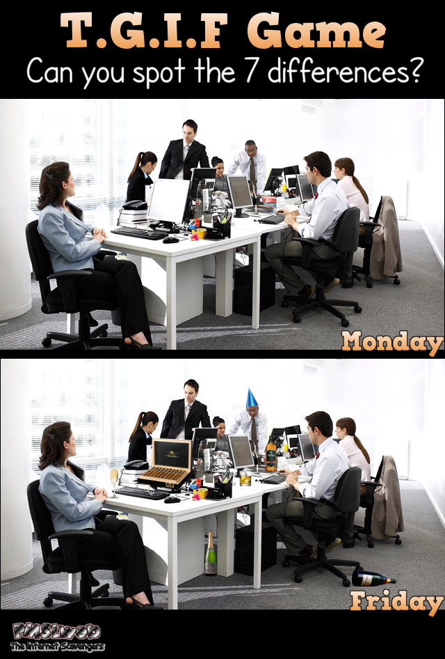 Funny TGIF spot the difference game – Very funny pictures @PMSLweb.com