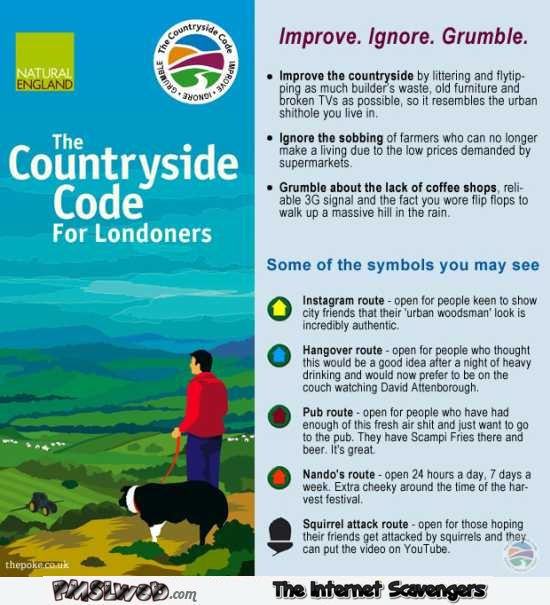 Funny countryside code for Londoners – British humour @PMSLweb.com